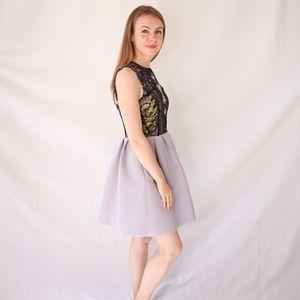 ASOS Dresses - Asos Lace Fit Flare Mini Dress Gray Black NWT 0795